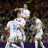 South Korea's Ji Dong-won, center, celebrates after scoring with his teammates. Photo / AP.