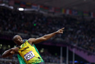 Jamaica's Usain Bolt celebrating his win in the men's 100 metre final. Photo / AP