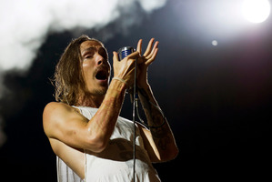 Brandon Boyd of US rock band Incubus performs during the St. Gallen Open Air Music Festival in Switzerland. Photo / AP
