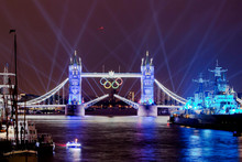 London's Tower Bridge during the opening ceremony of the Olympics. Photo / AP.