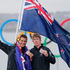 Peter Burling and Blair Tuke of New Zealand celebrate their silver medal. Photo / AP.