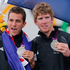 Peter Burling and Blair Tuke of New Zealand celebrate their silver medal of the 49er men sailing race. Photo / AP.