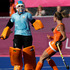 The Netherlands' Ellen Hoog celebrates her winning goal in a penalty shootout. Photo/ AP.
