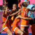 The Netherlands' players celebrate after defeating New Zealand in a women's hockey semifinal match. Photo / AP.