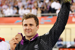 Simon van Velthooven scooped a bronze medal in the final event at the velodrome, the keirin. Picture / Mark Mitchell