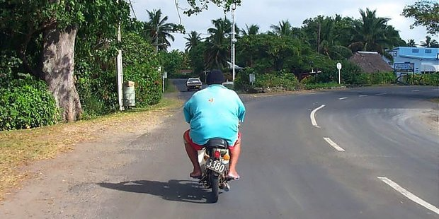 You won't be getting any road rage in Rarotonga traffic. Photo / Martin Davey