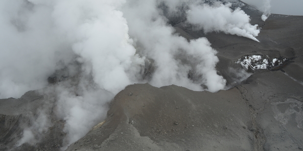 Eruption fissure and upper Te Maari crater of Mount Tongariro after Monday nights eruption. Photo / Supplied