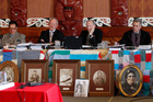 From left, Pou Temara, Timothy Castle, Ron Crosby and Chief Judge Wilson Isaac. Photo / Mark Mitchell