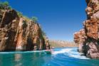 An exhilarating boat trip through the Horizontal Waterfalls at Talbot Bay. Photo / Tourism Western Australia