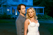 A scene from the True Blood television series starring Stephen Moyer and Anna Paquin.