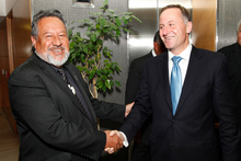 Prime Minister John Key and Maori Party co-leader Pita Sharples. Photo / Mark Mitchell