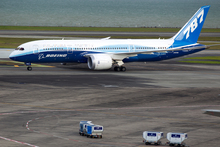 The Boeing 787 Dreamliner lands at Auckland International Airport. Photo / Steven McNicholl