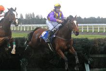 Roodyvoo (right) showed he was in the right form for the Grand National Steeplechase next Saturday by winning the Koral Steeplechase.    Photo / Race Images
