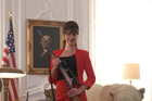 Stephanie Paul as the US President in Iron Sky. Photo / Supplied