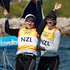 Olivia Powrie, left, and Jo Aleh win gold at the Olympic Games women's 470 dinghy sailing. Photo / Mark Mitchell