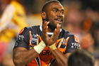 Four tries from Marika Koroibete have helped the Wests Tigers run away with a big win over the Parramatta Eels. Source / Getty Images