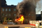 The fire at Kiwi House in London. Photo / Twitter / @Andrew_Scott
