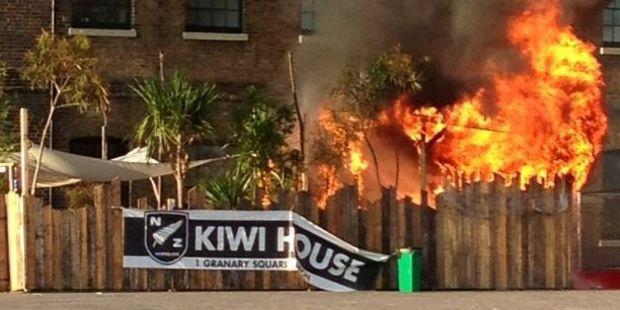 Loading The fire at Kiwi House in London. Photo / Chris Williamson @CMJWilliamson