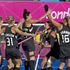 The Black Sticks celebrate a goal against Australia. Photo / Brett Phibbs