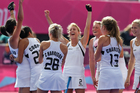 The Black Sticks celebrate qualifying for the semifinals of the women's Olympic hockey tournament. Source / Brett Phibbs NZ Herald