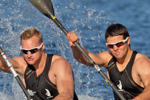 Steven Ferguson and Darryl Fitzgerald in the men's kayak double are through to the final of their event at the London Olympics. Source / Brett Phibbs NZ Herald