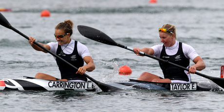 Lisa Carrington and Erin Taylor compete in the  K2 500m final. Photo / Brett Phibbs.