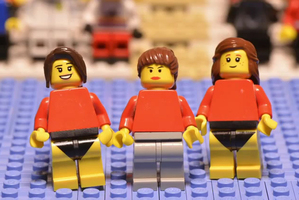 The Lego gymnasts in action. Photo / YouTube