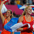 The Netherlands' players celebrate their victory over Argentina in the women's field hockey gold medal match. Photo / AP