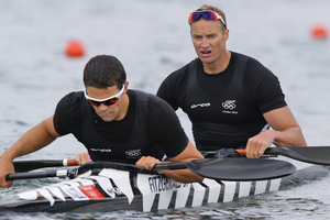 Steven Ferguson and Darryl Fitzgerald raced admirably but finished up in seventh place in the final of the men's K-2 1000 final. Source / Brett Phibbs NZ Herald