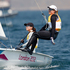 Jo Aleh, left, and Olivia Powrie heading for gold in the Olympic Games women's 470 dinghy sailing. Photo / Mark Mitchell