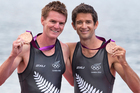 Bronze medal-winning pair Peter Taylor and Storm Uru at the medal ceremony at the London Olympics. Source / Brett Phibbs NZ Herald