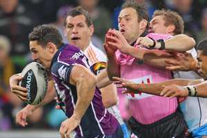 Billy Slater out-runs everybody during the Melbourne Storm's win over the Gold Coast Titans. Photo / Getty Images