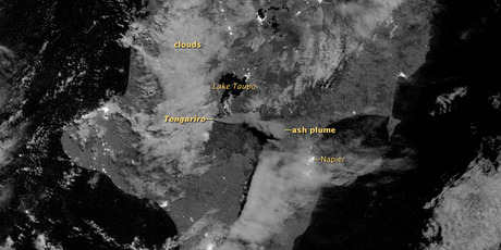 The ash plume can be seen in the centre of this satellite image. Photo / NASA