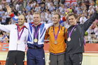 Simon van Velthooven, right, with fellow bronze medalist,Teyn Mulder, Netherlands, Gold medalist, Britain's Chris Hoy and Germany's Maximilian Levy, silver. Photo / Mark Mitchell