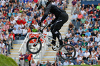 Sarah Walker in action during the Olympic Games cycling BMX time trials at Olympic Park. Photo / Mark Mitchell