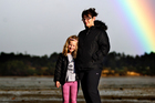 Kristain Midgely and her daughter Brooke, 7, at the estuary. Photo / Steven McNicholl