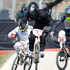 Marc Willers, No 7, during his BMX quarter-finals at the Olympic Park BMX track. Photo / Mark Mitchell