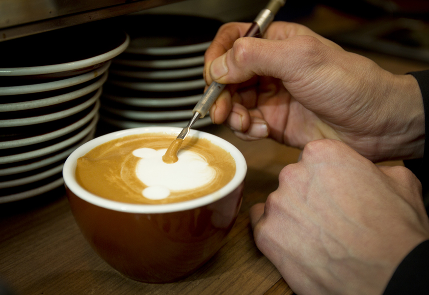Barista Sean Kim creates works of art while making your morning latte. Coffee crema has become the canvas for his art