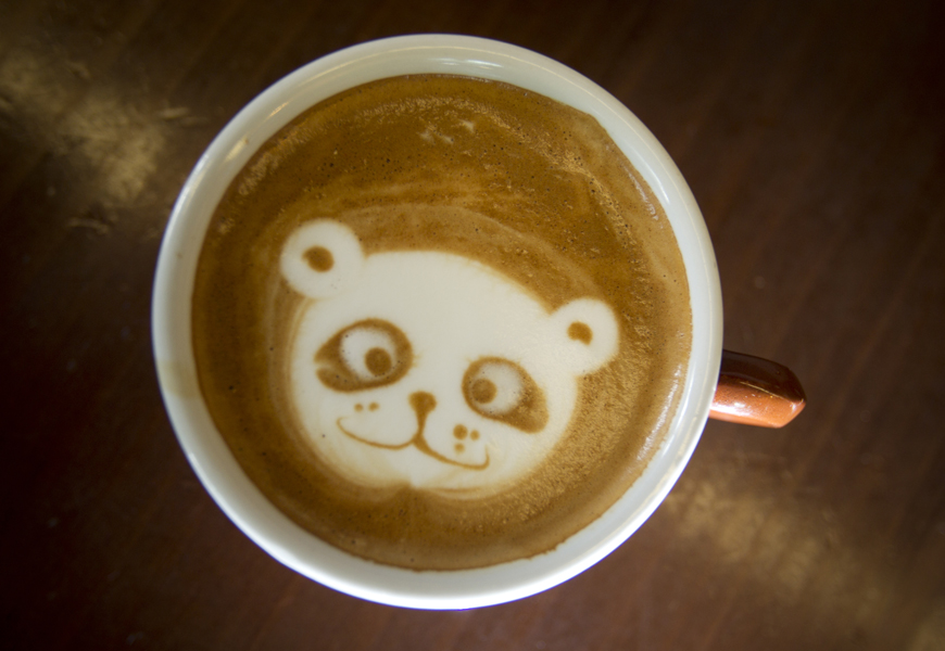 A panda bear by Barista Sean Kim. He creates works of art while making your morning latte.