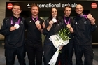 """Cheers and congratulations met the New Zealand Olympians as they arrived back in Auckland. Single sculling gold medallist Mahe Drysdale said, """"to get this sort of welcome is just awesome""""."""