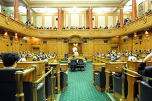 Press Gallery in the Debating Chamber, Parliament, Wellington. Photo / Ross Setford
