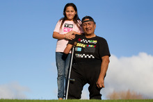 Taupae Connelly, with his niece Blossom Connelly, hopes the scheme will improve the lives of his whanau. Photo / Steven McNicholl