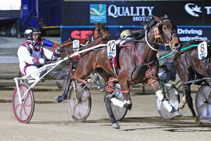 Dexter Dunn drives Its Onlyfor You to success in her semifinal of the 2-year-old Breeders Crown Series on Friday night. Photo / Stuart McCormick