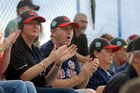 John Key and his wife Bronagh cheer on the Asia Pacific team that their son Max plays for, in Bangor, Maine.  Photo / Bangor Daily News