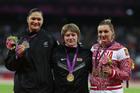 Olympians Valerie Adams (silver), Nadzeya Ostapchuk (gold) and Evgeniia Kolodko (bronze).  Photo / AP