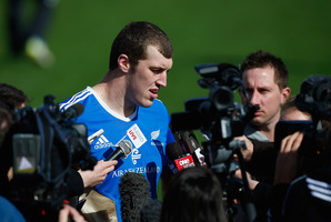 Brodie Retallick got a taste of media attention after an All Blacks training session at Trusts Stadium yesterday. Photo / Getty Images