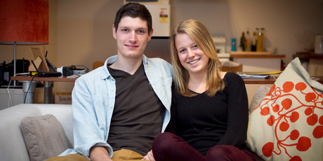 Ben Garfitt and Sophie Hamlett are happy with their home. Photo / Natalie Slade