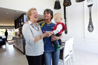 Marion O'Connell, daughter-in-law of the original owner, visits with daughter Fran Harris and grandson Dominic. Photo / Doug Sherring