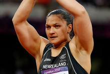 Valerie Adams has now taken gold. Photo / AP