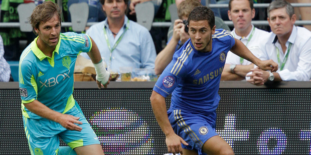 Chelsea's new signing Eden Hazard (right) needs to make a quick contribution to his side's defence of both the Champions League and FA Cup. Picture / AP